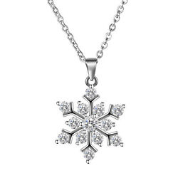 NEW Snowflake 925 Sterling Silver Jewelry Pendant Necklace Chain 18quot; $6.74