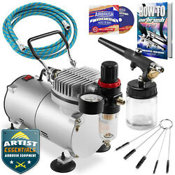 Starter Airbrush Kit Single Action Siphon Air Compressor Crafts Hobby Art $91.99