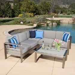 Patio Furniture Set Metal 4 Piece Outdoor Cushions Sofas Chair Table Pool Deck