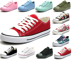 New Womens Girls Classic Lace Up Canvas Shoes Casual Comfort Sneakers 11 Colors $19.95