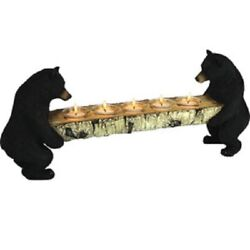 Candle Holder Votive Bears Holding Log Rivers Edge Great Outdoor Cabin Lodge New