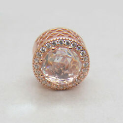 Authentic Silver Charm Rose Gold Clear CZ Radiant Hearts Mothers Day Gift Beads