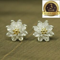 925 Sterling Silver Women Jewelry Cute Flower Elegant Crystal Ear Stud Earrings $3.94