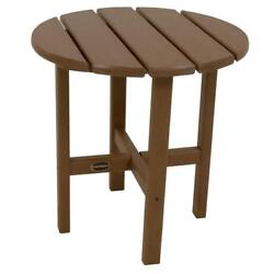 Teak Round Patio Side Table Outdoor Furniture Does Not Chip or Peel Polywood