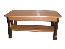 Rustic Hickory Log Coffee Table Hickory legs and Hickory Top Amish Made