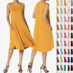 TheMogan Women amp; PLUS Sleeveless A line Fit amp; Flare Midi Long Dress With Pockets
