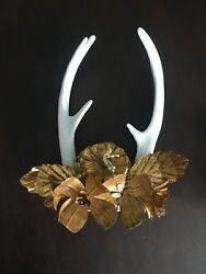 FAUX DEER ANTLERS GOLD TOLE FLOWERS WALL DECOR FARMHOUSE CHIC CODY FOSTER ~ B
