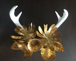FAUX DEER ANTLERS GOLD TOLE FLOWERS WALL DECOR FARMHOUSE CHIC CODY FOSTER ~ A