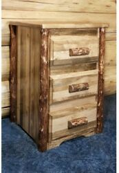 Solid Wood Rustic Log Nightstand Bedside End Table ~ 3 Large Drawers ~ Assembled