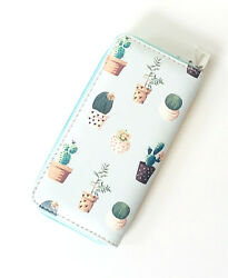 Cactus and Succulent Print Vinyl Zip Around Clutch Wallet