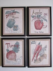 Fruit amp; Veggies Country Kitchen Wall Decor Plaques apples carrots peppers turnip $29.91
