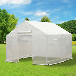 10'x9.5' Walk-in Greenhouse Tunnel House PE Cover Portable White
