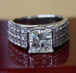 5.35 CT PRINCESS FOREVER ONE GHI MOISSANITE ENGAGEMENT PAVE RING BEAUTY