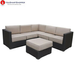 Abba Patio 4 Pcs All-Weather Outdoor Wicker Sofa Sectional Set Furniture...