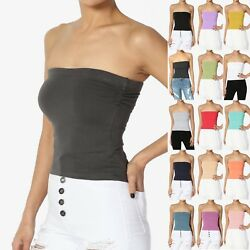 TheMogan Built in Shelf Bra No Slip Cotton Cropped Tube Top With Side Ruching $8.99