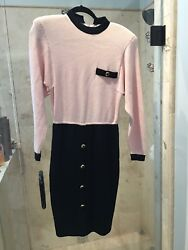 St. John Outfit Rare Pink Black Color Long Sleeve Sweater size 4