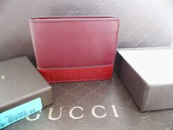 New Italian Gucci Men's 260987 Red  Cherry Leather MICRO GG Guccissima Bifold