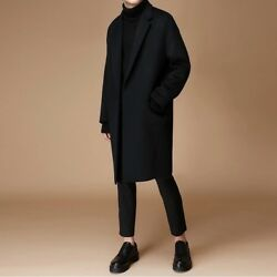 Men's Overcoat Wool Cashmere Blend Coat Trench Loose Jacket Parka Outwear Zsell