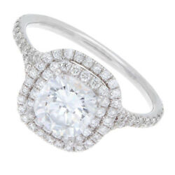 GIA Certified 2.25 CTW Cushion Cut Diamond Double Halo Engagement Ring 18K