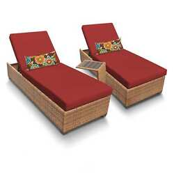 Outdoor Home Bayou Wicker 2-piece Outdoor Patio Wicker Chaise Lounge and Side
