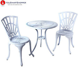 River Cottage Gardens PB601WHT White Cast Aluminum Bistro Table and Chairs...
