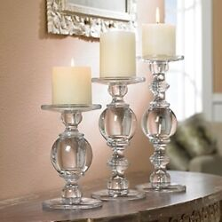 Glass Candlestick Clear Solid Baluster Large Pillar Holder Home Decor Set Of 3