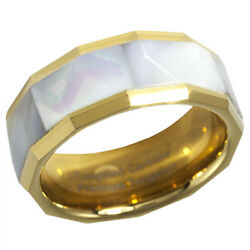 8MM Tungsten MOP Ring Gold IP Mother of Pearl Abalone Shell Inlay Sizes 7 - 15