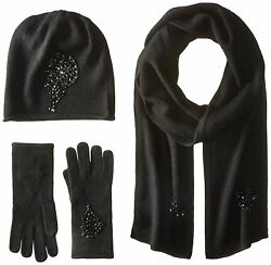 La Fiorentina Womens Jeweled Cashmere Scarf Hat and Glove 3 Piece Set Black On
