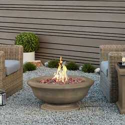 Treviso Round Propane Fire Bowl in Dove Grey w-NG Conversion