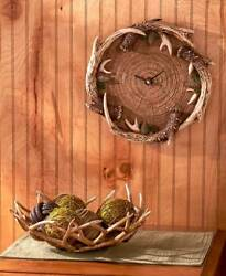 Deer Antler Wall Clock Rustic Cabin Lodge Woodlands Home Decor Log Slice