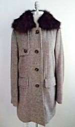 LORO PIANA $3.8k wool cashmere coat detachable fur collar women's Italian 44