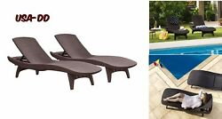Pack of 2 Rattan All Weather Adjustable Outdoor Patio Chaise Lounge Reclining