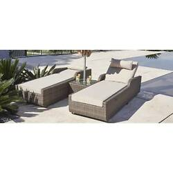 Alisa 3-piece Patio Wicker Adjustable Chaise Lounge Set with Cushions and Side