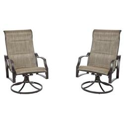 Outdoor Swivel Lounge Chair Weatherproof UV Protected Padded Sling Fabric 2 Pack