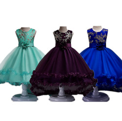 Girls Kids Princess Formal Pageant Wedding Birthday Party Dress with Flower Bow $21.98