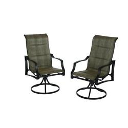 Patio Lounge Swivel Chairs Padded Sling Fabric Weatherproof UV Protected 2 Pack