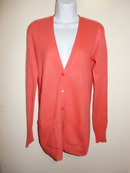 EQUIPMENT 100% CASHMERE BRIGHT CORAL V-NECK LONG SLEEVES CARDIGAN SWEATER XSS