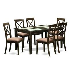 Modern Black Finish Solid Rubberwood 7-Piece Dining Set with Capri Table and 6