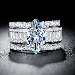 Hot 925 Silver Jewelry Marquise Cut White Sapphire Wedding 3pc Ring Size 6-10