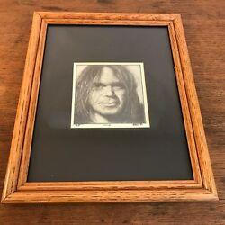 Neil Young Black and White Sketch Framed Print  8 X 10