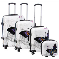 Expandable Hardside Luggage Set 4 Piece Spinner Sets Butterfly Travel Bags New