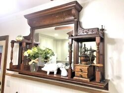 Antique Fireplace Over Mantle w Shelves & Mirrors Eastlake Carved Wall Hanging