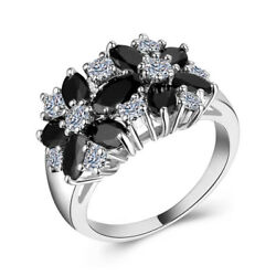 Women Fashion 925 Silver Jewelry Black Sapphire Wedding Party Ring Size 6-10