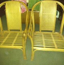 Lot of 2 Large Rattan Cane club high back Lounge Chairs continuous curved back