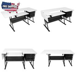 Sewing Machine Center Craft Cutting Table Computer Desk With Storage Drawers