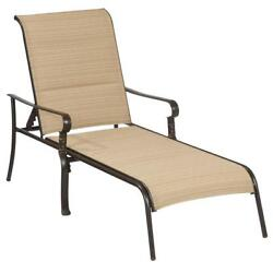Outdoor Indoor Patio Chaise Lounge Brown Sofa Vintage Style Padded Sling Chair
