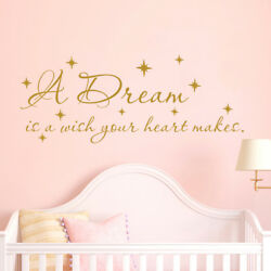 A Dream Is A Wish Your Heart Wall Decal Quote Cinderella Nursery Girls Decor F73 $25.99