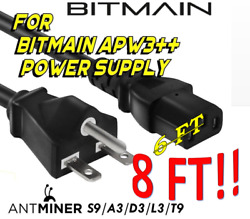 5X 220V 15A 8FT Power Cord 6-15P to C13 Perfect for BITMAIN Antminer APW3++ PSU!