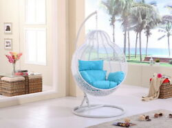 Hanging Rattan Swing Chair with Cushion & Stand Rattan LARGE