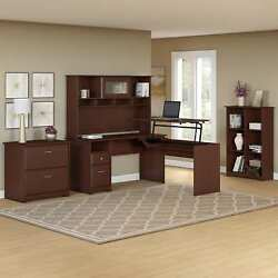 Cabot 60W L Shaped Sit to Stand Desk with Hutch and Storage in Cherry